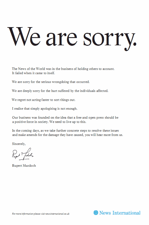 News International full-page apology