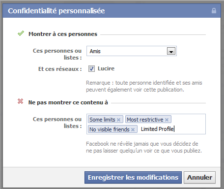 Facebook: no Limited Profile